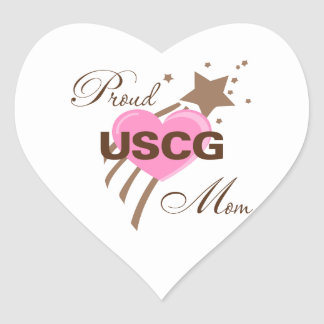 Proud USCG Mom Heart Stickers