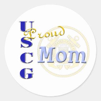 Proud USCG Mom Round Stickers