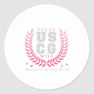 Proud USCG Wife Crest Classic Round Sticker