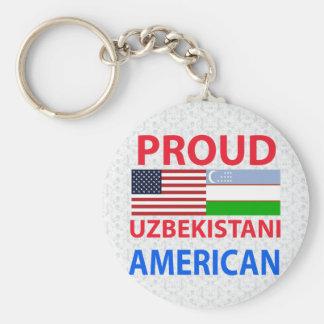 Proud Uzbekistani American Basic Round Button Keychain