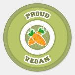 Proud Vegan Round Stickers