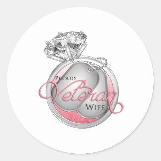 Proud Veteran Wife Classic Round Sticker