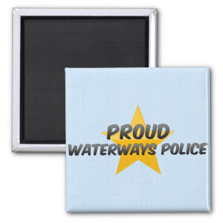 Proud Waterways Police 2 Inch Square Magnet