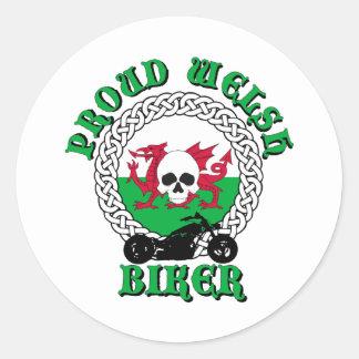 Proud Welsh Biker Classic Round Sticker