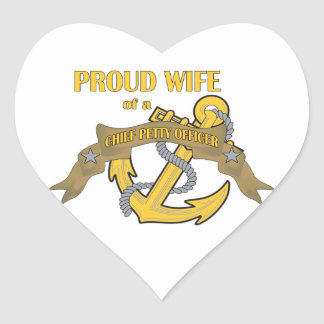 Proud Wife of a Chief Petty Officer Heart Sticker