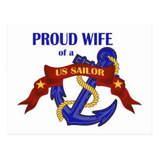 Proud Wife of a US Sailor Postcard