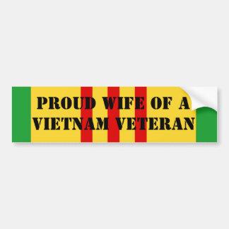 Proud Wife of a Vietnam Veteran Car Bumper Sticker