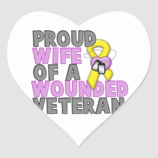Proud Wife of a Wounded Veteran Heart Sticker