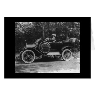 Proud Woman Behind the Wheel of her Car 1914 Greeting Card