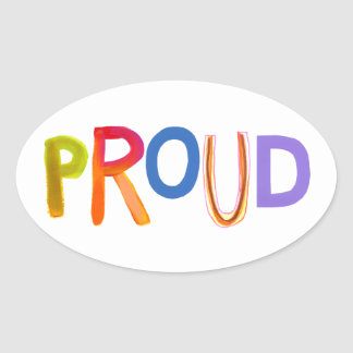 Proud word art bold unashamed confident smug oval sticker