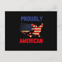 Proudly American USA Flag Skier Snowboarder Ski Holiday Postcard