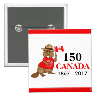 Proudly Canadian Beaver 150 Anniversary Button