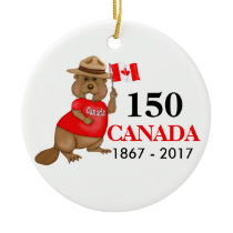 Proudly Canadian Beaver 150 Anniversary Ceramic Ornament