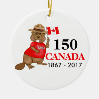Proudly Canadian Beaver 150 Anniversary Ceramic Ornament