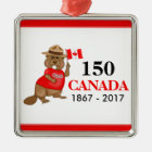 Proudly Canadian Beaver 150 Anniversary Metal Ornament