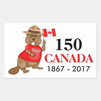 Proudly Canadian Beaver 150 Anniversary Rectangular Sticker