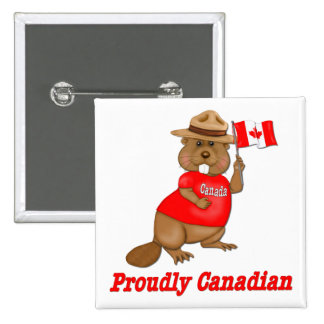 Proudly Canadian Beaver 2 Inch Square Button