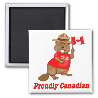 Proudly Canadian Beaver 2 Inch Square Magnet