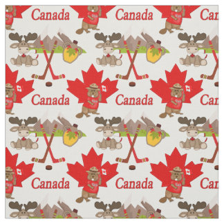 Proudly Canadian Beaver and Moose Fabric