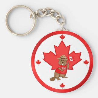 Proudly Canadian Beaver Basic Round Button Keychain