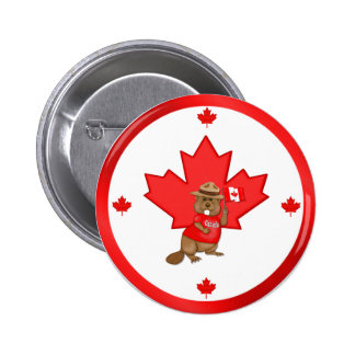 Proudly Canadian Beaver Button