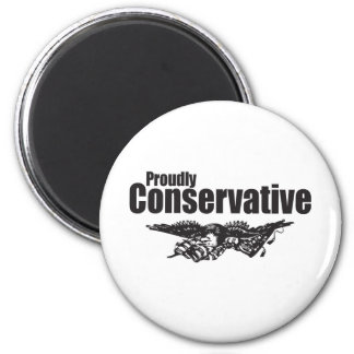 Proudly Conservative with Eagle 2 Inch Round Magnet
