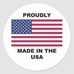 Proudly Made In The USA Classic Round Sticker