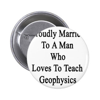 Proudly Married To A Man Who Loves To Teach Geophy Button