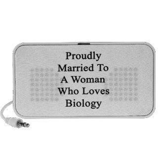 Proudly Married To A Woman Who Loves Biology iPhone Speaker