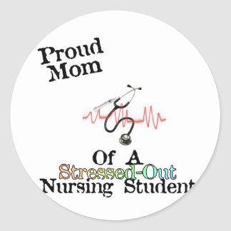 ProudMom of a Nursing Student Classic Round Sticker