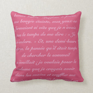 Proust words in pink throw pillow
