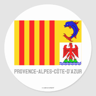 Provence-Alpes-Côte-d Azur flag with name Round Stickers