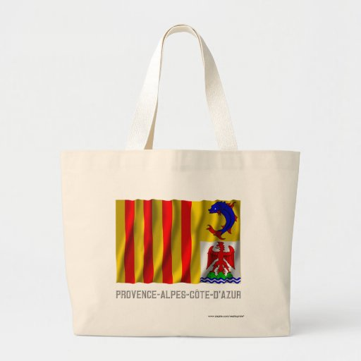 Provence-Alpes-Côte-d'Azur waving flag with name Jumbo Tote Bag