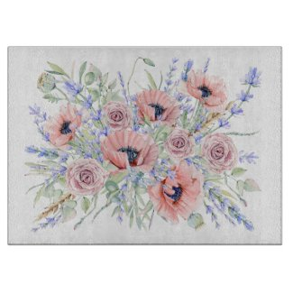Provence Bouquet Glass Cutting Board