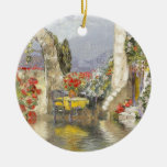 Provence Double-Sided Ceramic Round Christmas Ornament