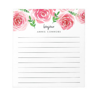 Provence Rose Personalized Lined Notepad