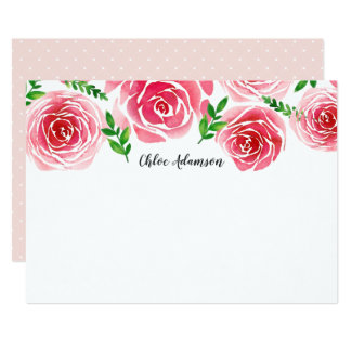 Provence Rose Personalized Stationery Flat Card
