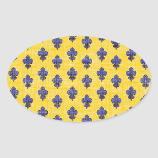 Provence South of France Fleur de Lys Pattern Oval Sticker