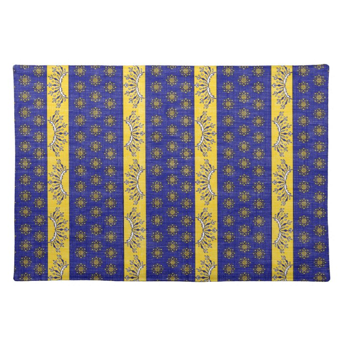 Provence South of France French Blue/Gold Pattern Cloth Placemat