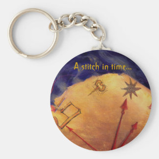 Proverb in Medieval Style, Acrylic Painting Keychain