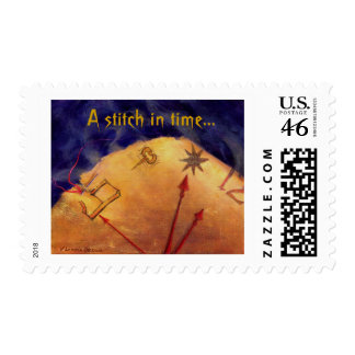 Proverb in Medieval Style, Acrylic Painting Postage Stamps