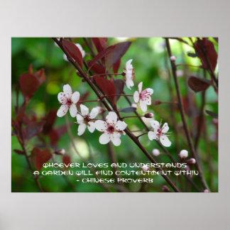 Proverbio Alegría-Chino del jardín Póster