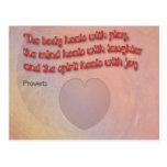 Proverbio curativo con el corazón postal