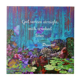 Proverbio de la biblia azulejo cuadrado pequeño