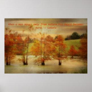 Proverbio de Lakota - corazón de la naturaleza y Poster