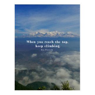 Proverbio de motivación del zen sobre desafíos tarjeta postal