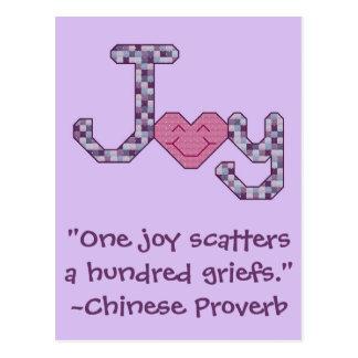 Proverbio del chino de la alegría tarjeta postal