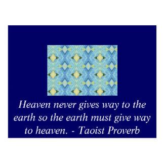 Proverbio del Taoist sobre cielo y tierra Postal