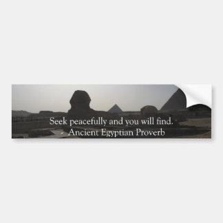 Proverbio egipcio sobre PAZ Pegatina Para Auto