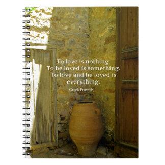 Proverbio griego sobre amor libros de apuntes con espiral